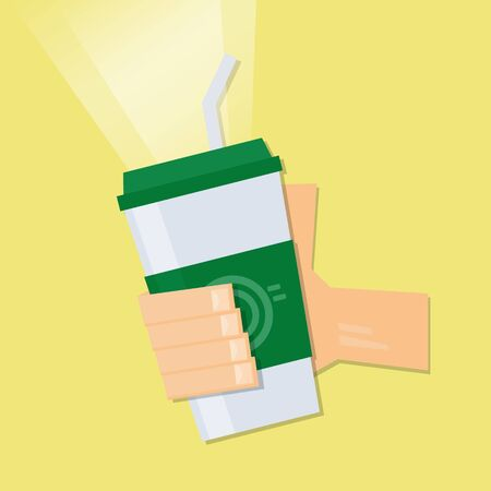 Hand holding ice coffee glass with yellow background. Vector illustration