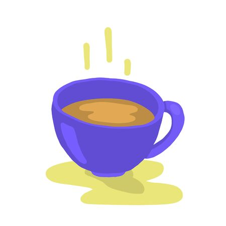 A cup of hot coffee on white background. Morning coffee. Vector illustration.