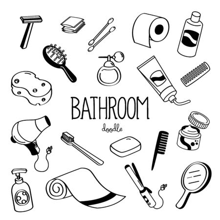 Hand drawing styles for bathroom. Bath room amenity doodle. Çizim