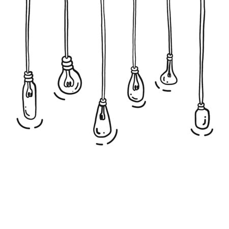 Hand drawing styles with light bulbs. Doodle bulbs.