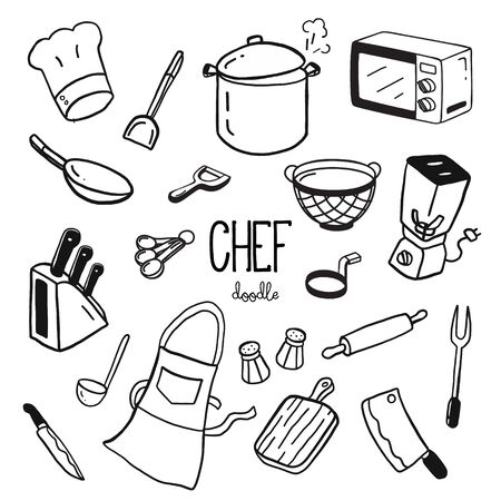 Hand doodle stijlen voor chef-kok items. Doodle chef-kok.