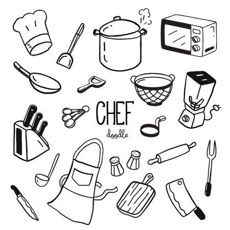 Handgekritzelstile für Kochartikel. Doodle-Koch.