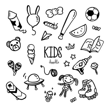 Hand drawing styles with kids item. Kids doodle.