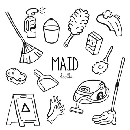 Hand doodle styles for maid items. Doodle maid.