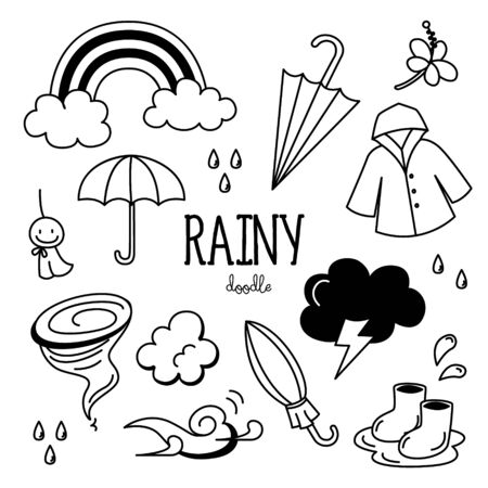 Hand drawing styles with rainy season.Rainy doodle. Ilustrace