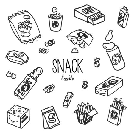 Hand doodle styles with Snack. Doodle snack.