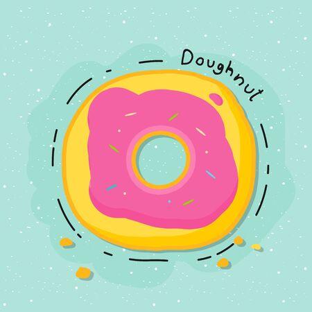 Strawberry doughnut with blue background. Doughnut doodle.