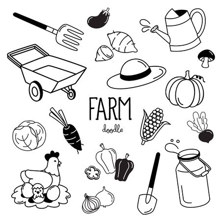 Hand drawing styles with farm items. Farm doodle. Çizim