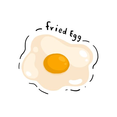 Hand doodle styles fried egg. Doodle fried egg. D