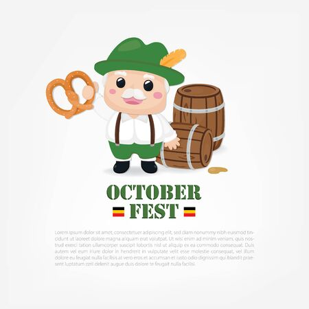 October festival banner. Cute old man with pretzel and beer.