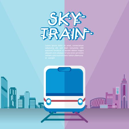 Infographic for sky train information with city background.