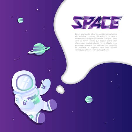 Space exploring template. Astronaut and planets with galaxy background. Universe banner.