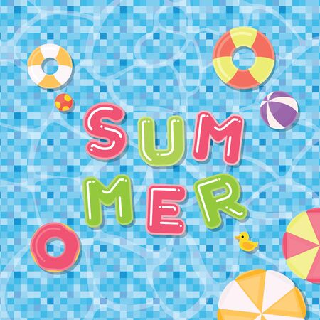 Summer banner with swimming pool and fancy ring. Çizim