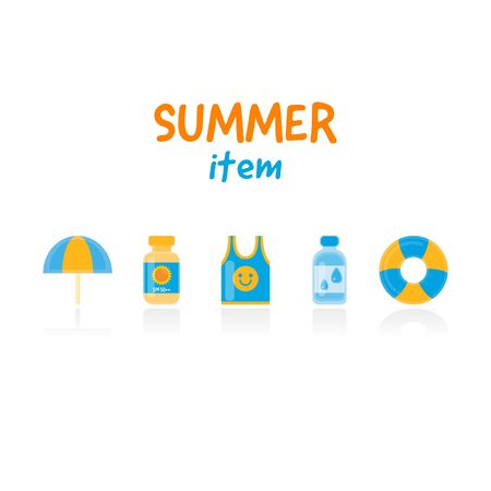 Set of flat vector with summer items. Çizim