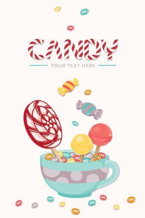 Plantilla dulce pastel con caramelo colorido piruleta aislado ilustración vectorial. Ilustración de vector
