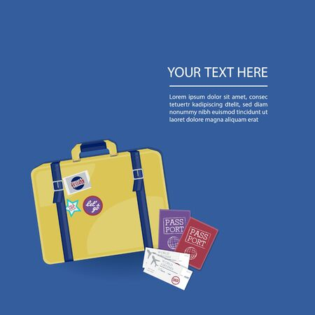 Travel banner with suitcase, passport and tickets, Template background trip. Çizim