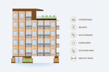 Flat vector urban building. Icon facilities for condominium.