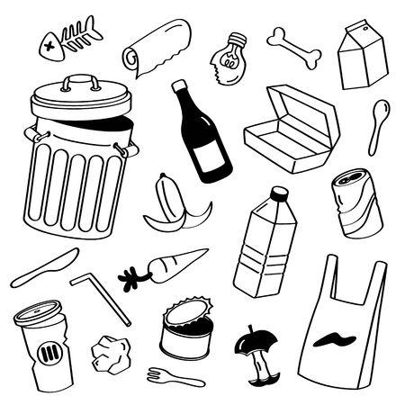 Stili di disegno a mano spazzatura. Scarabocchio dei rifiuti.