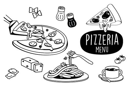 Hand drawing styles Pizzeria restaurant. Pizza menu doodle. Illustration