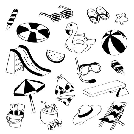 Hand drawing styles pool items. Doodle summer with beach items.