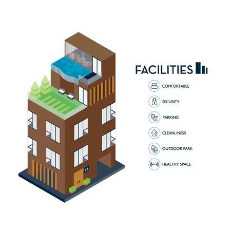 Isometric urban building. Icon facilities for condominium. Stock Illustratie