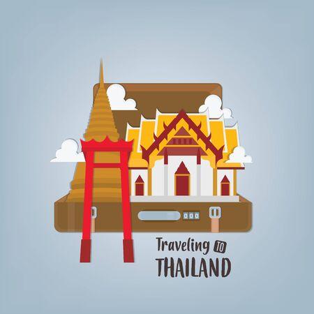 Vector illustration travel banner with Thailand landmarks in suitcase. Illustration