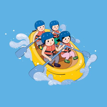 Young traveler rafting on blue background. Character design.