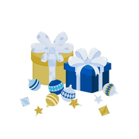 Vector illustration Present box and christmas ornaments. New year gift decorations.