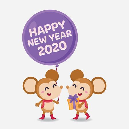 Happy New Year Greeting card 2020 with cute rat on white background. Stock Vector - 134598368