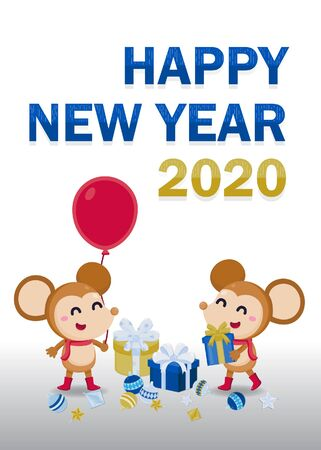 Happy New Year Greeting card 2020 with cute rat on white background. Stock Vector - 134598369