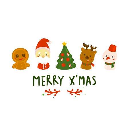Merry Christmas decoration doodle. Christmas character in hand drawing styles.vector illustration.