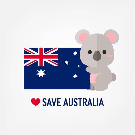 Vector illustration Cute Koala with Australia flag. Save Australia banner. Vettoriali