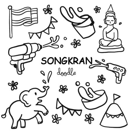 Songkran festival doodle. Water festival is Thai culture. Hand drawing styles for Songkran.