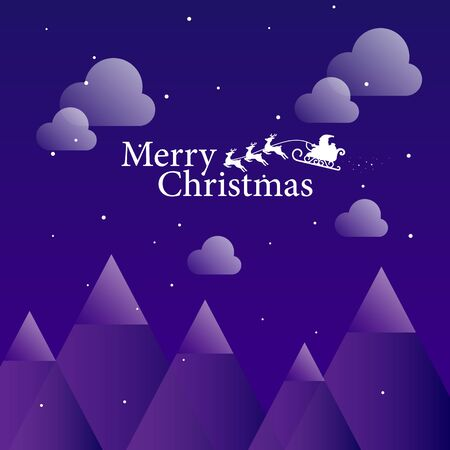 Christmas background. Merry christmas letter with Santa claus and Reindeer sleight ride on purple gradient background.