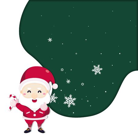 Merry Christmas greeting card with Santa claus and candy cane. Vector illustration Cute Christmas character.  イラスト・ベクター素材
