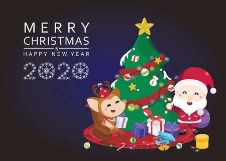 Merry Christmas and Happy New year greeting card. Cute Santa claus and reindeer on train with Christmas background. Vector illustration template.