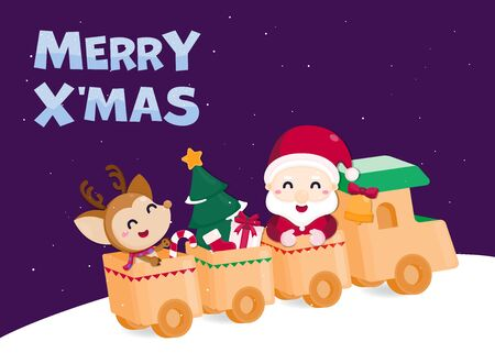 Merry Christmas Greeting card. Cute Santa claus and reindeer on the train with a lot of gifts. Christmas template.