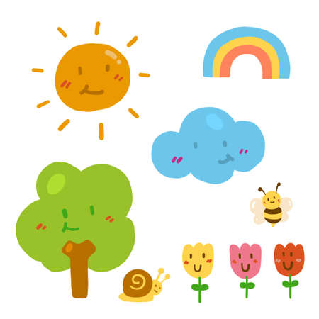 Colorful cute nature doodle. Hand drawing styles with nature.