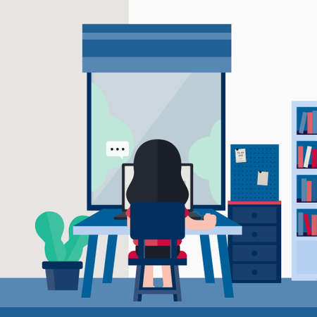 Coronavirus (COVID-19) campaign to stay at home. Girl sitting at work desk for work at home. Ilustração