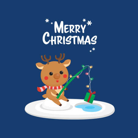 Christmas card with cartoon character, Merry Christmas template.