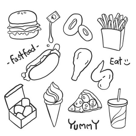 Hand drawing styles with junk food menu. Fast food doodle.