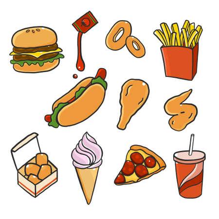 Colorful doodle fast food menu. Hand drawing styles with Junk food. Ilustração