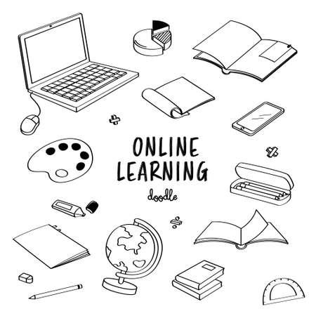 Hand drawing style for online learning. Doodle online classroom Ilustração