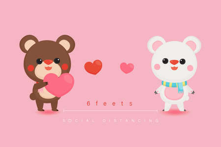 Illustration of Valentine's Day greeting card. Character design. Cute bears with social distancing.