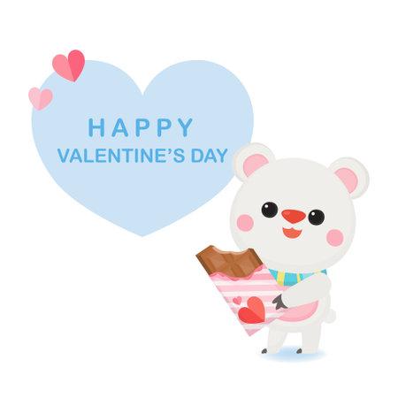 Valentine's day banner with cute bear on white background. Ilustração