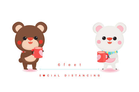 Illustration of Valentine's Day greeting card. Character design. Cute bear wearing mask with social distancing.