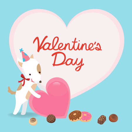 Illustration of Valentine's Day greeting card. Character design.