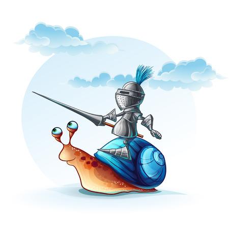 Illustration funny knight on the cochlea Illustration