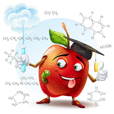 scholar: Illustration of school scholar apple with harmful substance in a test tube in his hand and the chemical formulas in the background  Illustration