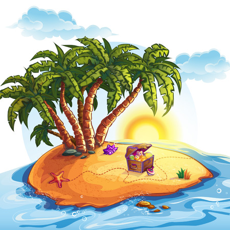 Illustration of Treasure Island with a trunk Vector